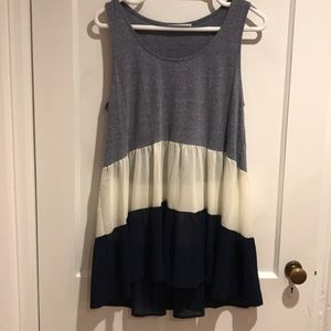 Loose fit blue tank with white & blue sheer bottom